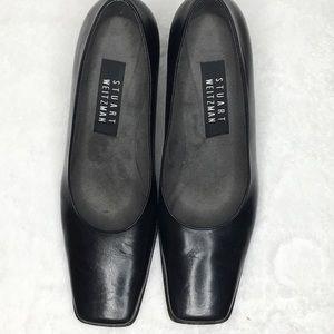 Stuart Weitzman Square Toe Block Leather Heels